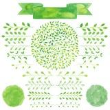 Διακριτικά Watercolor και φύλλα δαφνών καθορισμένα Λογότυπα, κορδέλλα, έμβλημα Στοκ Εικόνες