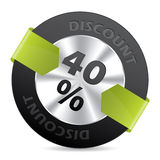 διακριτικό έκπτωσης 40% με την πράσινη κορδέλλα βελών Στοκ εικόνες με δικαίωμα ελεύθερης χρήσης