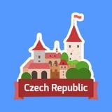 Διακριτικό Δημοκρατίας της Τσεχίας με το τσεχικό κάστρο Στοκ Εικόνες