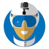 Διακριτικό του snowboarder, ο σκιέρ Διανυσματική απεικόνιση