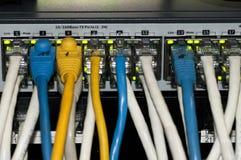 Διακόπτης δικτύων Ethernet με τα καλώδια ethernet Στοκ φωτογραφία με δικαίωμα ελεύθερης χρήσης