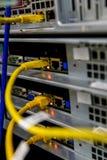 Διακόπτης και ethernet καλώδια δικτύων Στοκ Εικόνες
