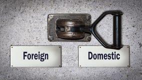 Διακόπτης τοίχων εσωτερικός εναντίον ξένος στοκ εικόνα με δικαίωμα ελεύθερης χρήσης