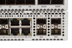 Διακόπτης Ethernet Gigabit με την αυλάκωση SFP Στοκ Εικόνες