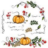 Διακόσμηση άδειας φθινοπώρου στοιχείων Διανυσματική απεικόνιση