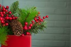 Διακόσμηση αειθαλών και Χριστουγέννων μούρων, τοπίο στενό μακριά Στοκ Εικόνες