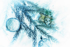 Διακόσμηση για τα χριστουγεννιάτικα δέντρα Κάρτα Στοκ Εικόνες