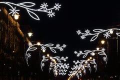 Διακόσμηση διακοσμήσεων νύχτας σε Vilnius, Λιθουανία, 2018, λεωφόρος Gedimino στοκ εικόνες με δικαίωμα ελεύθερης χρήσης