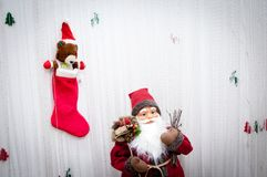 Διακόσμηση εκλεκτής ποιότητας Άγιος Βασίλης Χριστουγέννων με τα δώρα Στοκ φωτογραφία με δικαίωμα ελεύθερης χρήσης