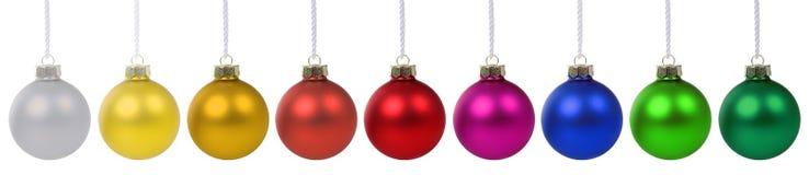 Διακόσμηση εμβλημάτων μπιχλιμπιδιών σφαιρών Χριστουγέννων που απομονώνεται Στοκ Εικόνα