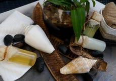 Διακόσμηση εξαρτημάτων wellness ομορφιάς πολυτέλειας σώματος bath spa Στοκ Εικόνα