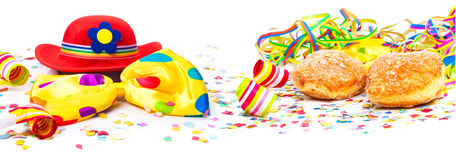 Διακόσμηση καρναβαλιού, donuts, καπέλο, έμβλημα στοκ εικόνες με δικαίωμα ελεύθερης χρήσης