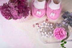 Διακόσμηση ντους μωρών με τα λουλούδια - είναι κορίτσι Στοκ εικόνες με δικαίωμα ελεύθερης χρήσης