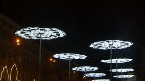 Διακόσμηση οδών φωτισμού Χριστουγέννων απόθεμα βίντεο