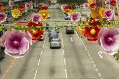 Διακόσμηση οδών στην πόλη της Κίνας στη Σιγκαπούρη Στοκ Φωτογραφίες
