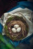 Διακόσμηση Πάσχας - μια φωλιά με τα ξύλινα αυγά Στοκ Εικόνα