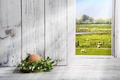 Διακόσμηση Πάσχας, φωλιά Πάσχας με το καφετί αυγό Στοκ εικόνα με δικαίωμα ελεύθερης χρήσης