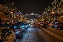 Διακόσμηση προοπτικής Nevsky στις ημέρες των Χριστουγέννων στην Άγιος-Πετρούπολη Στοκ φωτογραφίες με δικαίωμα ελεύθερης χρήσης