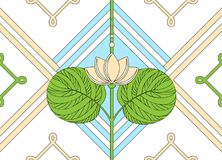 Διακόσμηση του λωτού floral πρότυπο άνευ ραφής Στοκ Εικόνα