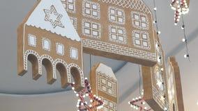 Διακόσμηση του φεστιβάλ Χριστουγέννων στη λεωφόρο αγορών Bangkapi λεωφόρων, Μπανγκόκ, Ταϊλάνδη απόθεμα βίντεο