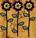Διακόσμηση τριών λουλουδιών με την ανασκόπηση Στοκ εικόνες με δικαίωμα ελεύθερης χρήσης
