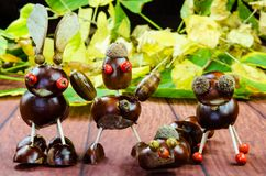 Διακόσμηση φίλων κάστανων φθινοπώρου Στοκ Φωτογραφία