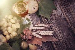 Διακόσμηση φθινοπώρου με το άσπρο κρασί και τα οργανικά φρούτα φθινοπώρου Στοκ Εικόνες