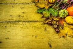 Διακόσμηση φθινοπώρου σε έναν αγροτικό ξύλινο πίνακα Στοκ Φωτογραφία