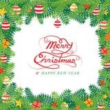 Διακόσμηση φύλλων πεύκων Χριστουγέννων, πλαίσιο Διανυσματική απεικόνιση