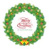 Διακόσμηση φύλλων πεύκων Χριστουγέννων, στεφάνι διανυσματική απεικόνιση