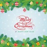 Διακόσμηση φύλλων πεύκων Χριστουγέννων, σύνορα Απεικόνιση αποθεμάτων