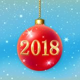 Διακόσμηση Χαρούμενα Χριστούγεννας 2018 στο μπλε υπόβαθρο τρισδιάστατη σφαίρα Τα αστέρια, ακτινοβολούν, αριθμός, κόκκινο μπιχλιμπ Στοκ Φωτογραφίες