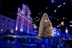 Διακόσμηση χειμερινής νύχτας Στοκ εικόνα με δικαίωμα ελεύθερης χρήσης