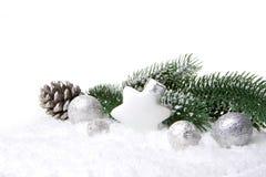 Διακόσμηση Χριστουγέννων άσπρη και ασημένια Στοκ Φωτογραφία