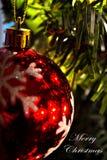 Διακόσμηση Χριστουγέννων (κινηματογράφηση σε πρώτο πλάνο) 0 - λέει τη Χαρούμενα Χριστούγεννα - λευκό Στοκ Φωτογραφίες