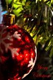 Διακόσμηση Χριστουγέννων (κινηματογράφηση σε πρώτο πλάνο) 0 - λέει τη Χαρούμενα Χριστούγεννα - κόκκινο Στοκ Φωτογραφία