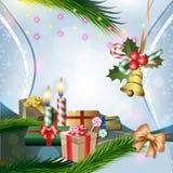 Διακόσμηση Χριστουγέννων με τα κεριά και τα δώρα Στοκ Φωτογραφίες