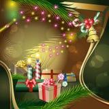 Διακόσμηση Χριστουγέννων με τα κεριά και τα δώρα Στοκ Εικόνες