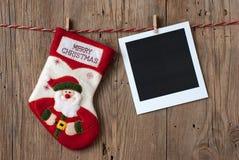 Διακόσμηση Χριστουγέννων με τη στιγμιαία φωτογραφία Στοκ φωτογραφία με δικαίωμα ελεύθερης χρήσης