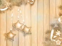 Διακόσμηση Χριστουγέννων με τους κλάδους έλατου 10 eps Στοκ Εικόνες