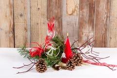 Διακόσμηση Χριστουγέννων με το κόκκινο candel 1 Στοκ Εικόνες