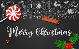 Διακόσμηση Χριστουγέννων με το μούρο ελαιόπρινου, lollypop, γαρίφαλα, κανέλα στο μαύρο πίνακα κιμωλίας με τα Χριστούγεννα διανυσματική απεικόνιση