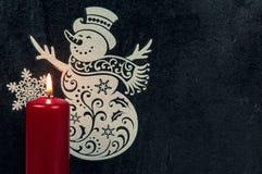 Διακόσμηση Χριστουγέννων με το χιονάνθρωπο και το κερί Στοκ φωτογραφίες με δικαίωμα ελεύθερης χρήσης