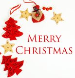 Διακόσμηση Χριστουγέννων που απομονώνονται, άσπρο υπόβαθρο για την κάρτα γ στοκ εικόνα