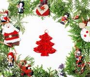 Διακόσμηση Χριστουγέννων που απομονώνονται, άσπρο υπόβαθρο για τον τρύγο δώρων καρτών στοκ φωτογραφία