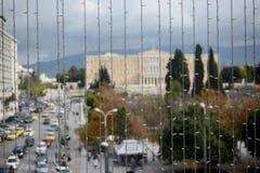 Διακόσμηση Χριστουγέννων στην κεντρική πλατεία της Αθήνας Ελλάδα στοκ φωτογραφίες με δικαίωμα ελεύθερης χρήσης