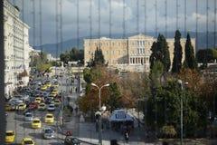Διακόσμηση Χριστουγέννων στην κεντρική πλατεία της Αθήνας Ελλάδα στοκ εικόνα
