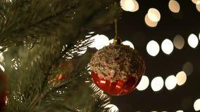 Διακόσμηση Χριστουγέννων στον κλάδο έλατου με τα φω'τα bokeh απόθεμα βίντεο