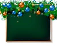 Διακόσμηση Χριστουγέννων στον παλαιό ξύλινο πίνακα Διανυσματική απεικόνιση