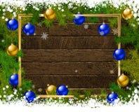 Διακόσμηση Χριστουγέννων στον παλαιό ξύλινο πίνακα Απεικόνιση αποθεμάτων